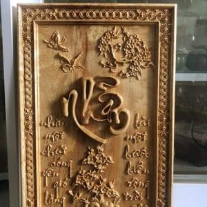 Tranh chữ Nhẫn gỗ pơmu