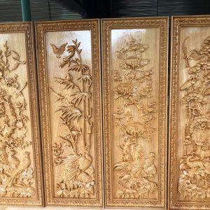 tranh tứ quý gỗ pơmu