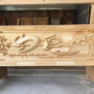 tranh chữ đức gỗ pơmu