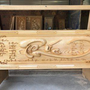 tranh thư pháp chữ phúc gỗ pơmu
