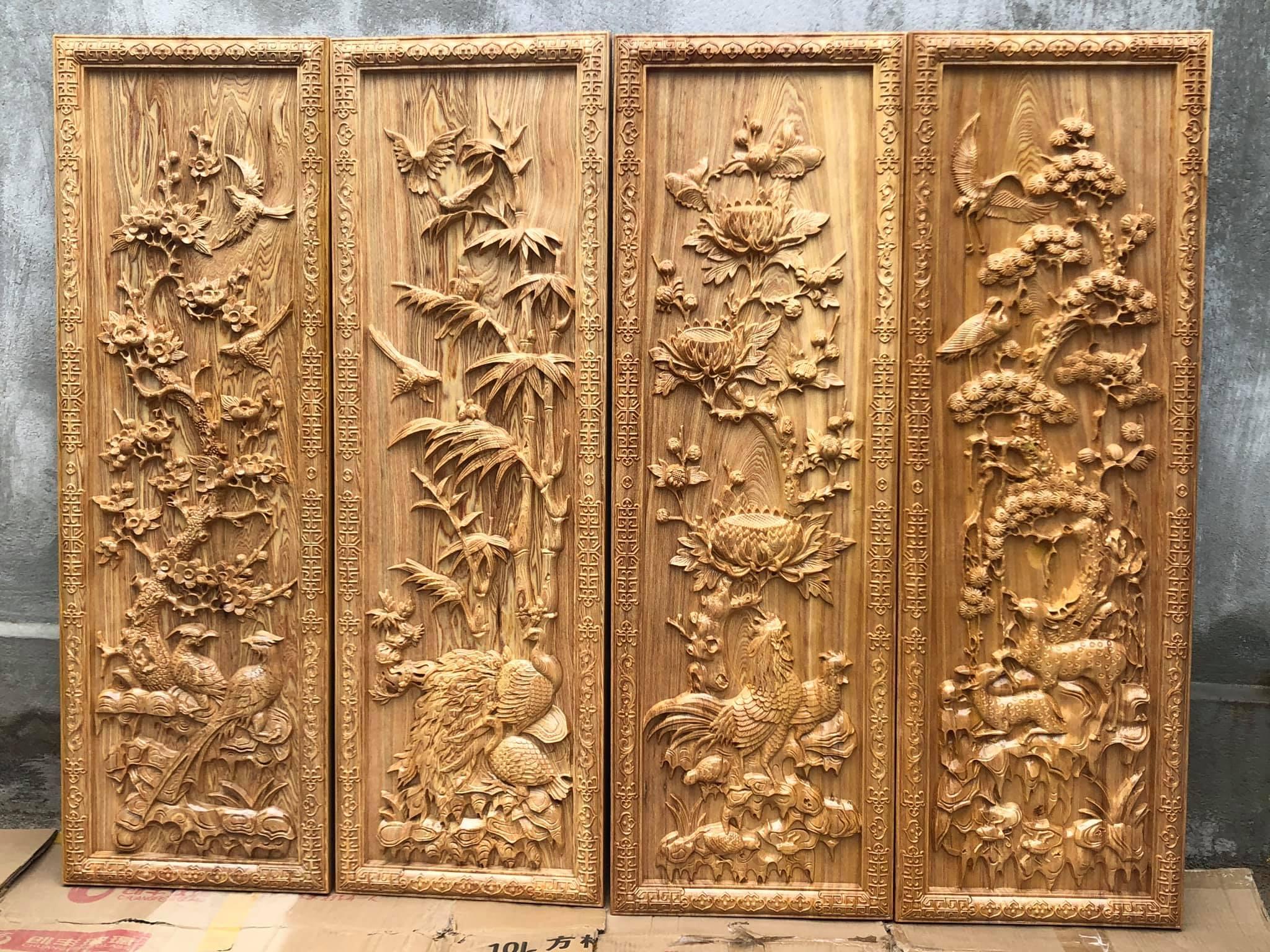 tranh gỗ tứ quý gỗ pơmu 40x120