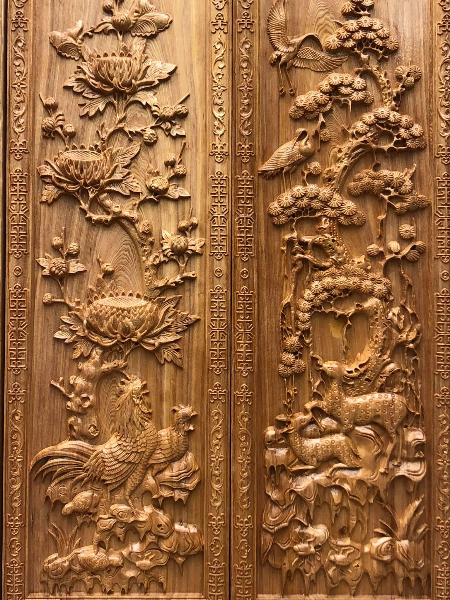 Bộ tứ quý gỗ pơmu 40x120