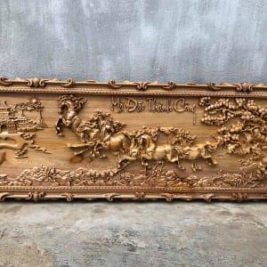 tranh bát mã gỗ pơmu 50x140
