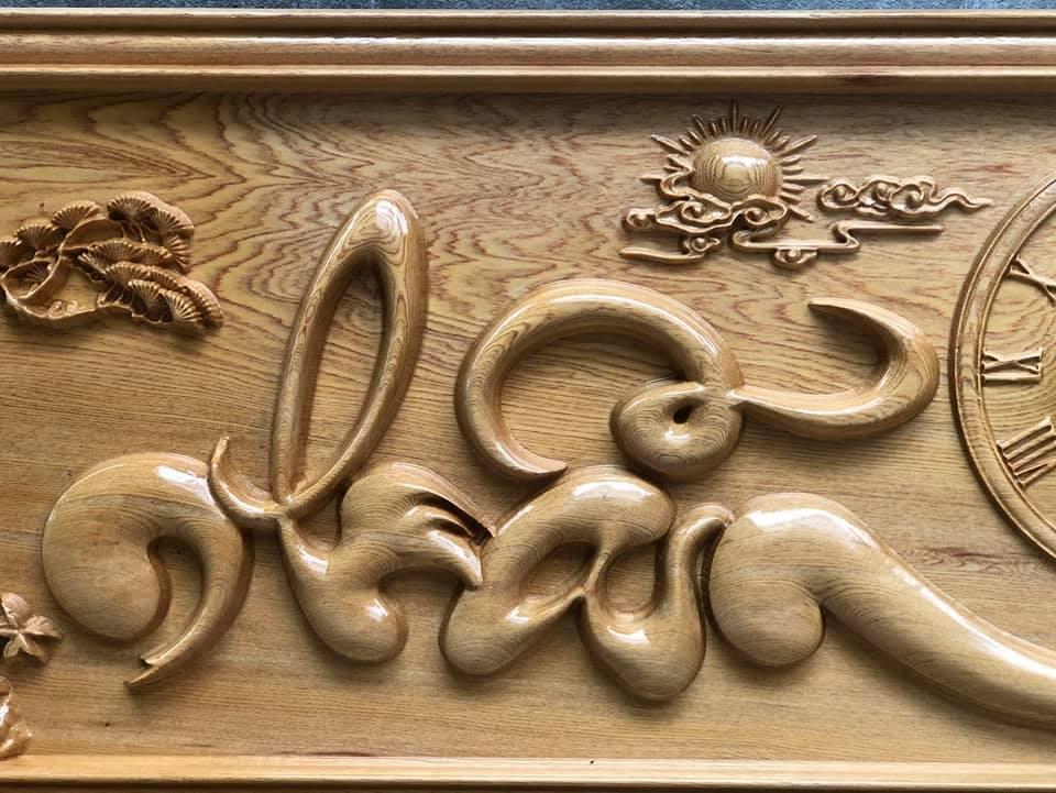 Tranh gỗ chữ Nhẫn thư pháp