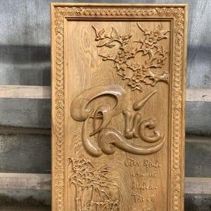 Tranh chữ Phúc thư pháp bằng gỗ