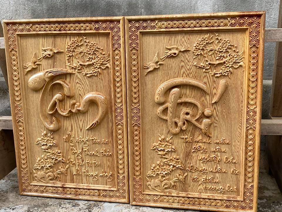 Tranh gỗ chữ tâm trí