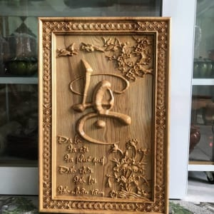Tranh chữ Lộc gỗ pơmu