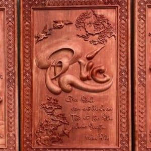 Tranh chữ Phúc gỗ dổi